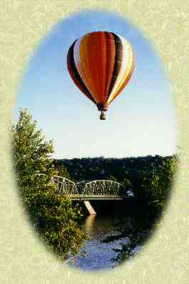 Hot air balloon over the Milford bridge.